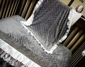 Silver, Grey, White, Satin, Minky Crib Set. BUMPERLESS