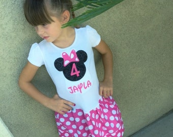 Minnie Mouse Dress. Short Sleeve. Personalized. Also available in red.