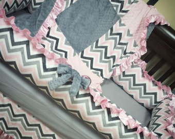 Grey, Pink, Chevron, Crib Set. You design. Several Colors Available.