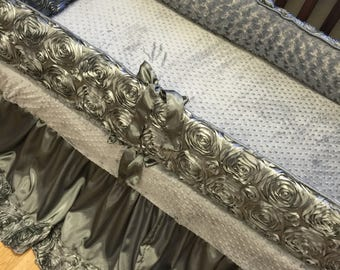 Grey, Silver, Satin, Rosette, Baby bedding.