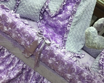 Lavender, Satin, Rosette Crib Set.