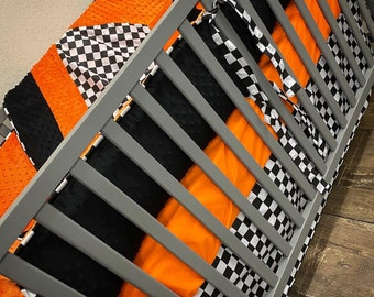 Checkered baby bedding. Checkered flag baby bedding. Baby boy bedding. Off-road nursery. Dirt bike baby bedding. Nursery decor