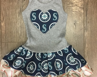 Baseball Dress. Made with Seattle Mariners fabric