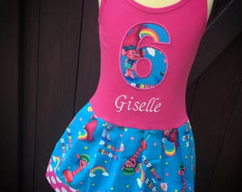 Custom Girls Dress. Inspired by Trolls