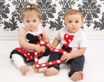 White, Minnie Mouse Dress, Mickey Mouse Tie Shirt, Sibling Set. Personalized.