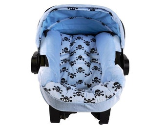 Minky, Blue Skull, Infant Car Seat Replacement Cover. You choose colors.