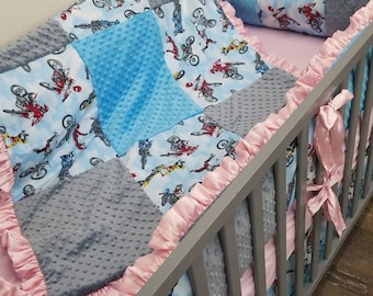 Baby Girl Crib Bedding. Checker Baby Bedding. Checkered Flag Crib Bedding. Off Road Nursery. Dirt Bike Nursery. Checkered Nursery