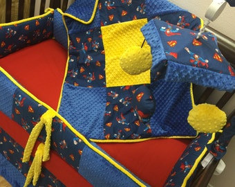 Superman, Crib Set. You design. Several Colors Available.