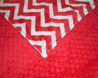 Red Chevron, Minky Baby Blanket. You choose color backing. You choose size.