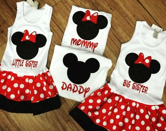 FAMILY, Minnie Mouse, Mickey Mouse Shirt, Dress Set.