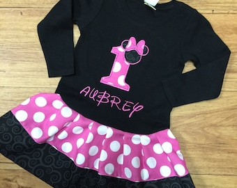 Minnie Mouse Dress. Pink, Black. Personalized. LONG SLEEVE