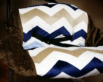Blue Chevron, Brown Chevron, Minky, Shopping Cart Cover. Several other colors available to choose from.