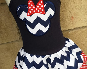 Minnie Mouse Dress. Navy Chevron.