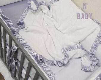 White, Lavender, Minky, Baby Bedding