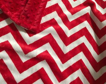 Red Chevron, Minky, Baby, Blanket. You choose color backing.
