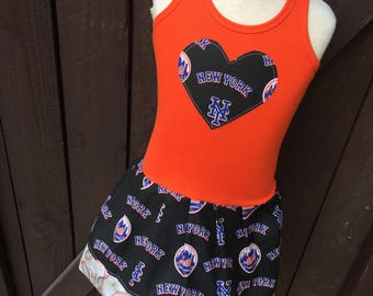 Baseball Dress. Made with New York Mets fabric