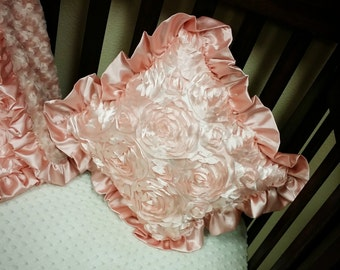 Throw Pillow. Satin Rosette