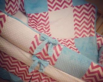Fuchsia Chevron, Turquoise Minky Dot, Crib Set. You design. Several Colors Available.