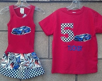 Race Car Dress AND Race Car Birthday Shirt. Sibling Set.