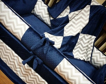 Grey Chevron, Navy, Crib Set. You design. Several Colors Available.