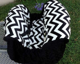 Black Chevron, Minky, Shopping Cart Cover. Several other colors available to choose from.