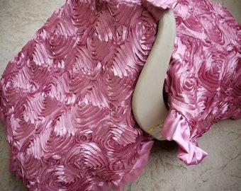 Dusty rose canopy tent. Rosette canopy tent. Rosette car seat canopy.  Satin rosette canopy tent.