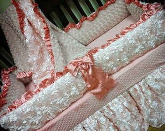 Blush, Coral, Satin, Rosette Crib Set.