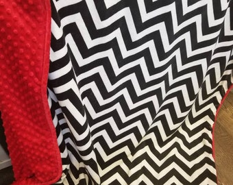 Chevron Throw blanket. Adult minky blanket. Minky throw blanket. Black Chevron minky blanket.