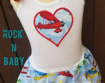 Girls Custom Dress. Airplane dress. Airforce Dress. Pilot Dress. Blue Angels dress. My first airplane