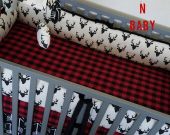 Woodland baby bedding. Baby Boy crib bedding. Buffalo plaid baby bedding. Arrow bedding. Adventure Nursery