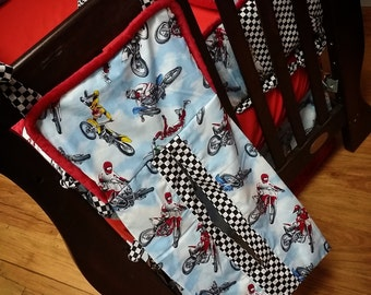 Dirtbike, Diaper Stacker. You choose fabrics.
