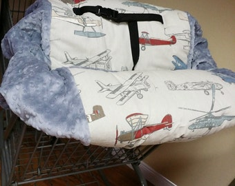Vintage Airplanes, Shopping Cart Cover. Several colors to choose from
