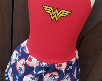 Girls Custom Dress. Wonder Woman inspired.
