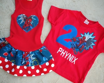 Spiderman Dress AND Spiderman Birthday Shirt. Sibling Set.
