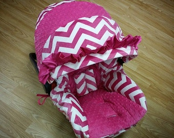 Fuchsia, Chevron, Minky, Infant Car Seat Replacement Cover. You choose colors.