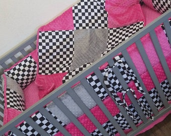 PINK, Checkered Flag Crib Set. You design. Several Colors Available.