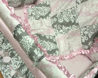 Damask, Crib Set. Baby Pink, Grey. Several Colors Available.