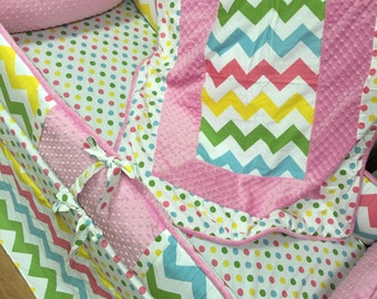 Pastel Chevron, Baby Pink, Aqua, Crib Set. You design. Several Colors Available.