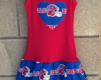Custom Girls Dress. Made with Buffalo Bills Fabric.