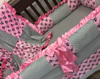 Pink, Grey, Skull Crib Set. Pirate Crib Set. You design. Several Colors Available.