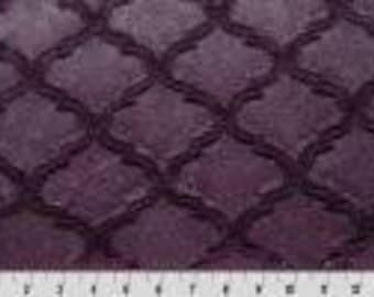 Luxe cuddle lattice plum. Shannon fabrics. Plum minky. Purple minky. BTY.