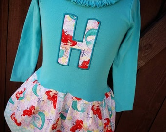Custom girls dress. Made with Little Mermaid Fabric. Long Sleeve