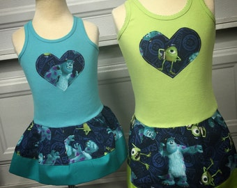 Custom Girls Dress. Monsters Inc Inspired.