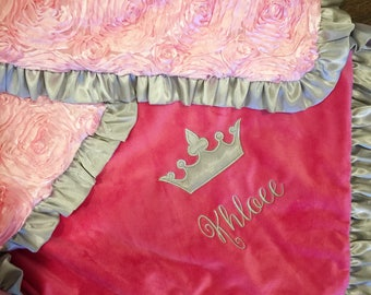 Satin Rosette, Princess Baby Blanket. Several Colors Available.