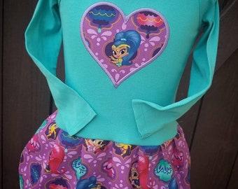 Custom girls dress. Inspired by Shimmer and Shine. Long sleeve