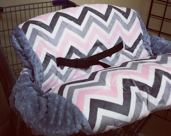 Pink, Grey, Chevron, Minky, Shopping Cart Cover. Several other colors available to choose from.