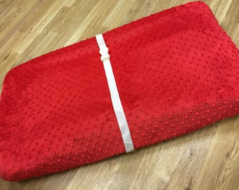 Red, Minky Dot Changing Pad.