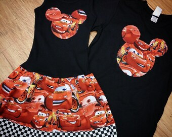 Lightning Mcqueen Set. Girls Dress. Boys Shirt.