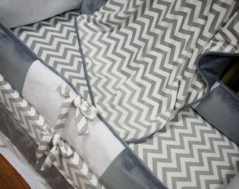 Grey Chevron, Crib Set. You design. Several Colors Available.