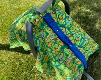 Car seat cover. Car seat canopy. Canopy tent. Ninja turtle car seat cover. Baby shower gift
